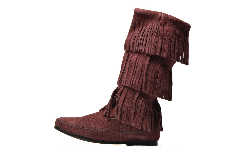 Bottines et boots Minnetonka 3 Layer Fringe Bt Bordeaux vue face