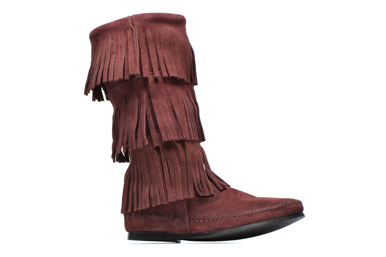 Bottines et boots Minnetonka 3 Layer Fringe Bt Bordeaux vue derrière