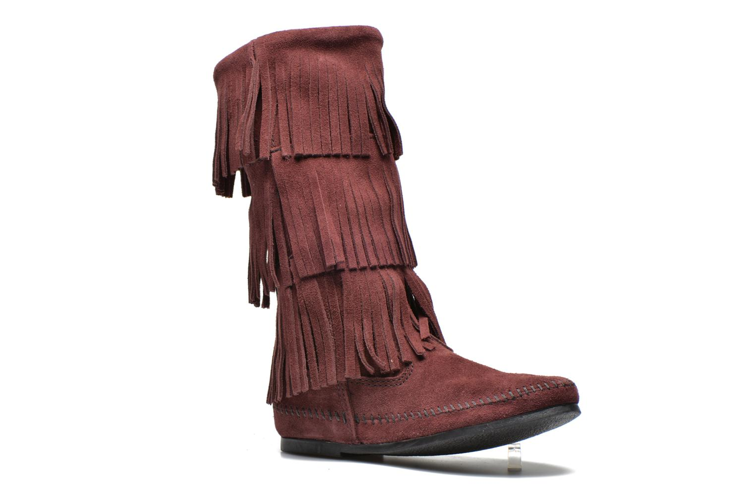 3 Layer Fringe Bt Raisin Suede