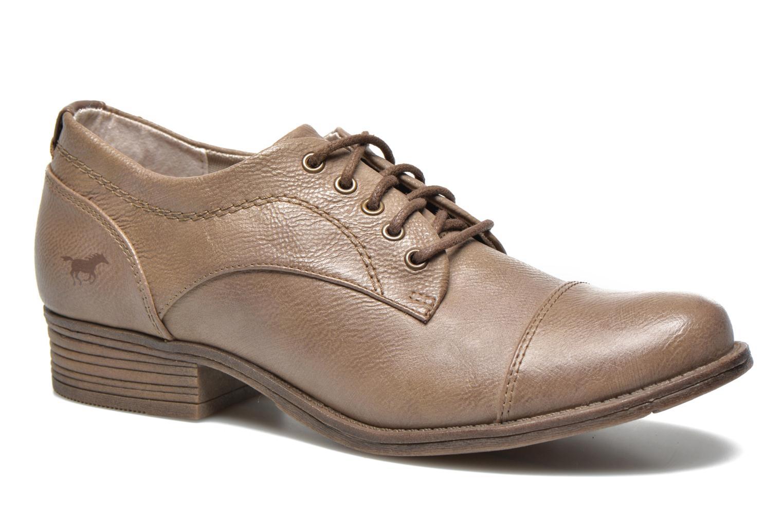 Chaussures à lacets Mustang shoes Ulris Beige vue détail/paire