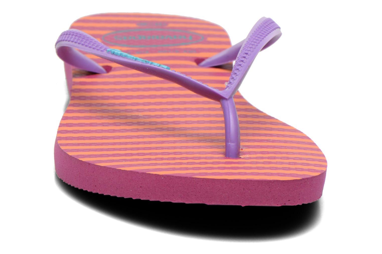Tongs Havaianas Slim Retro Orange vue portées chaussures