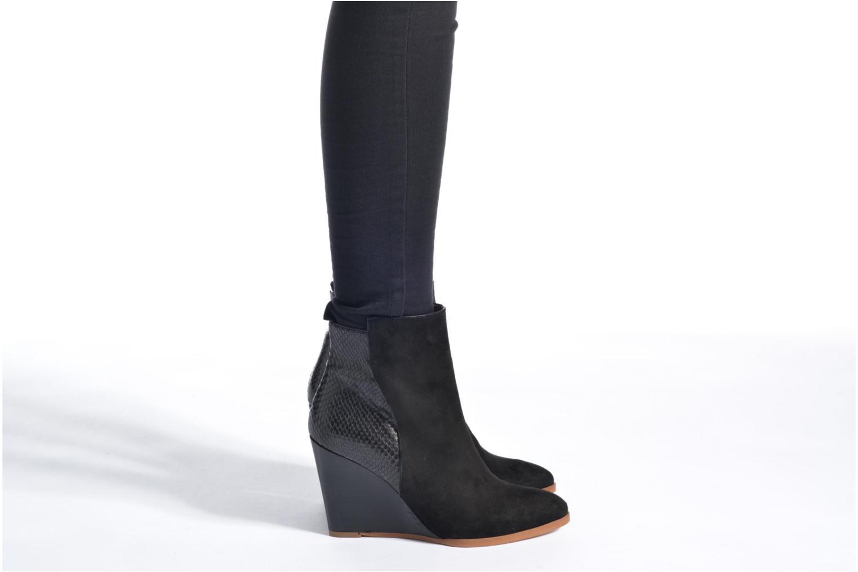Boots Camp #11 velours ante negro + croco nero+pipping nappa nera