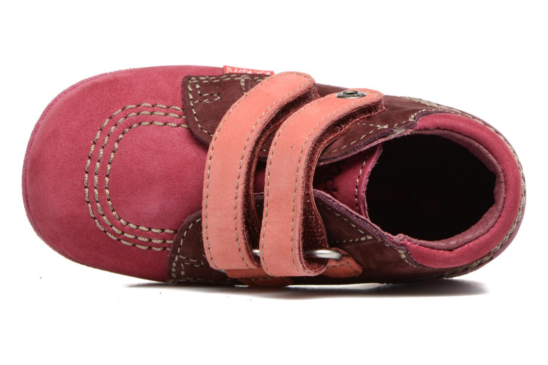 Chaussures à scratch Kickers Babyscratch Rose vue gauche