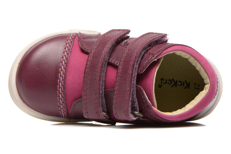 Chaussures à scratch Kickers Trala Violet vue gauche