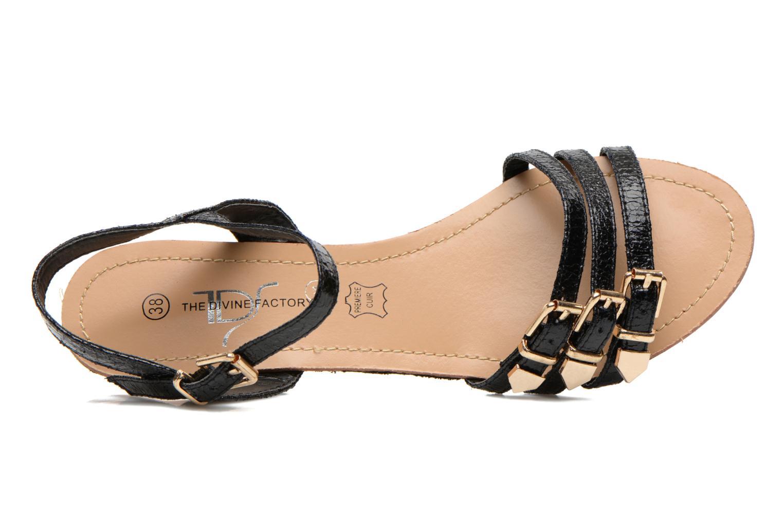 Sandales et nu-pieds Divine Factory Eliza Noir vue gauche