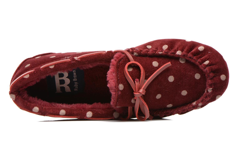 Pantoffels Ruby Brown Mae Rood links