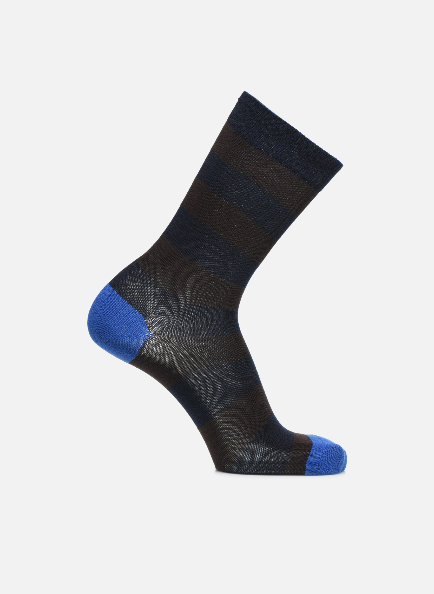 Chaussettes larges rayures marine/brun