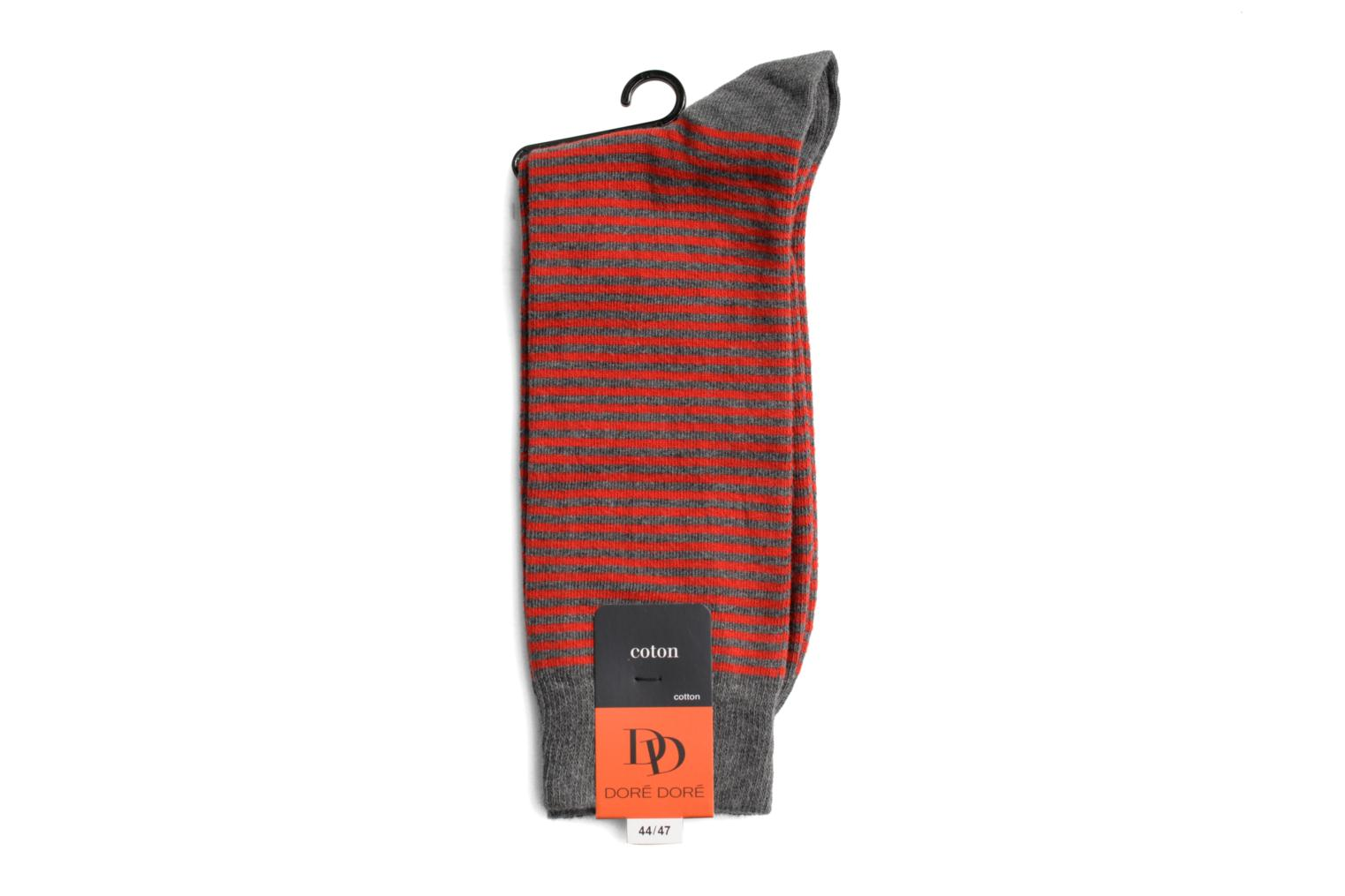 Calze FINE STRIPES 035 - gris / rouge