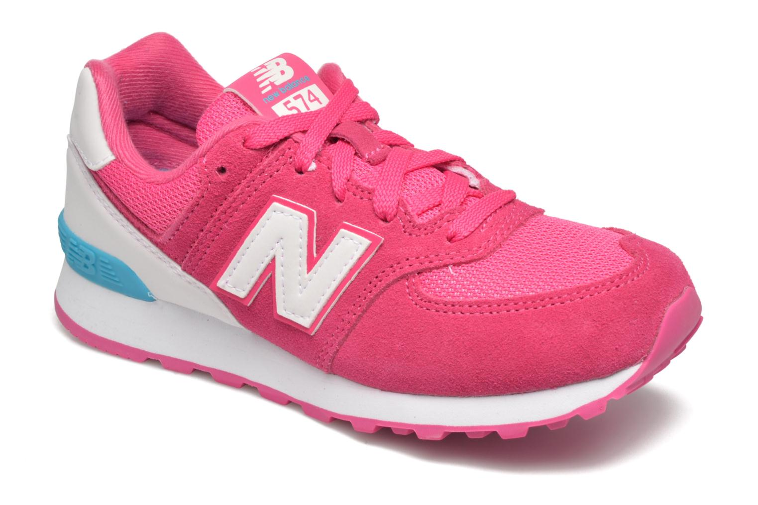 Baskets New Balance KL574 J Rose vue détail/paire