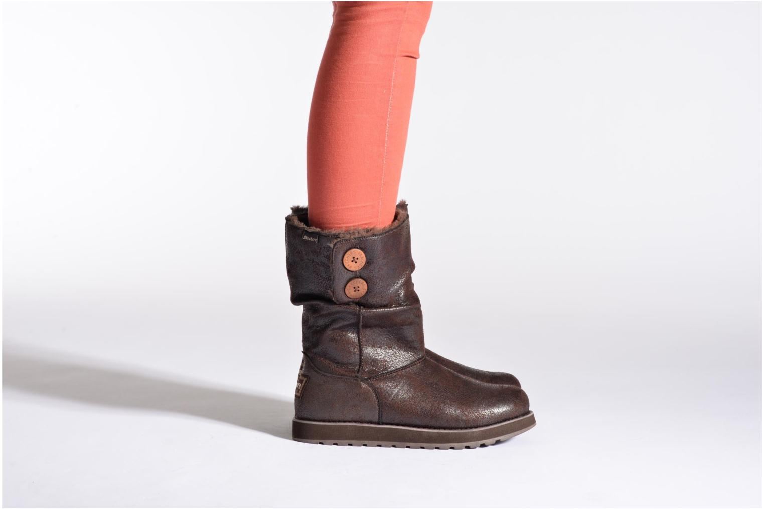 Ankle boots Skechers Keepsakes Leather-Esque 48367 Brown view from underneath / model view