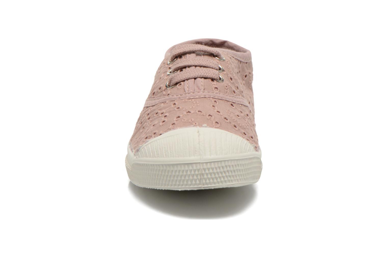 Baskets Bensimon Tennis Broderie Anglaise E Rose vue portées chaussures