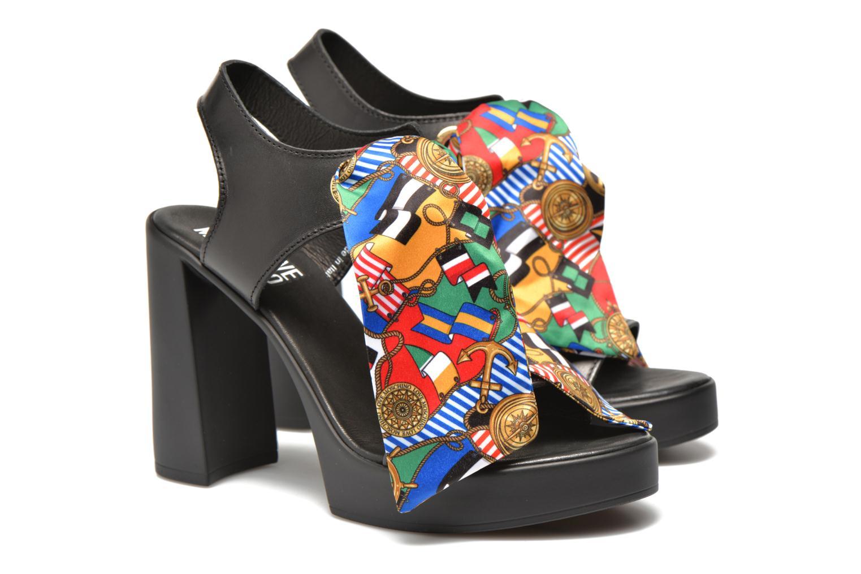 Sandals Love Moschino ILOVEFOULARD Black 3/4 view