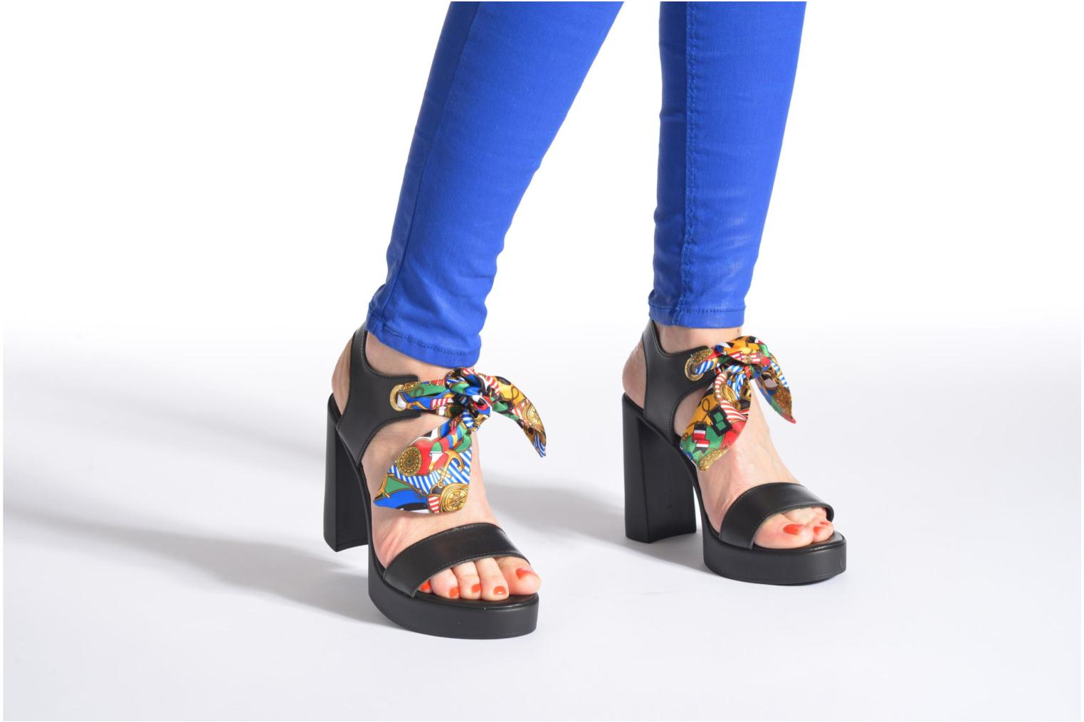 Sandals Love Moschino ILOVEFOULARD Black view from underneath / model view