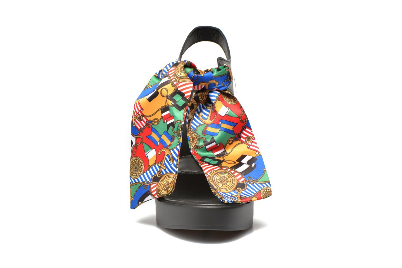 Sandals Love Moschino ILOVEFOULARD Black model view