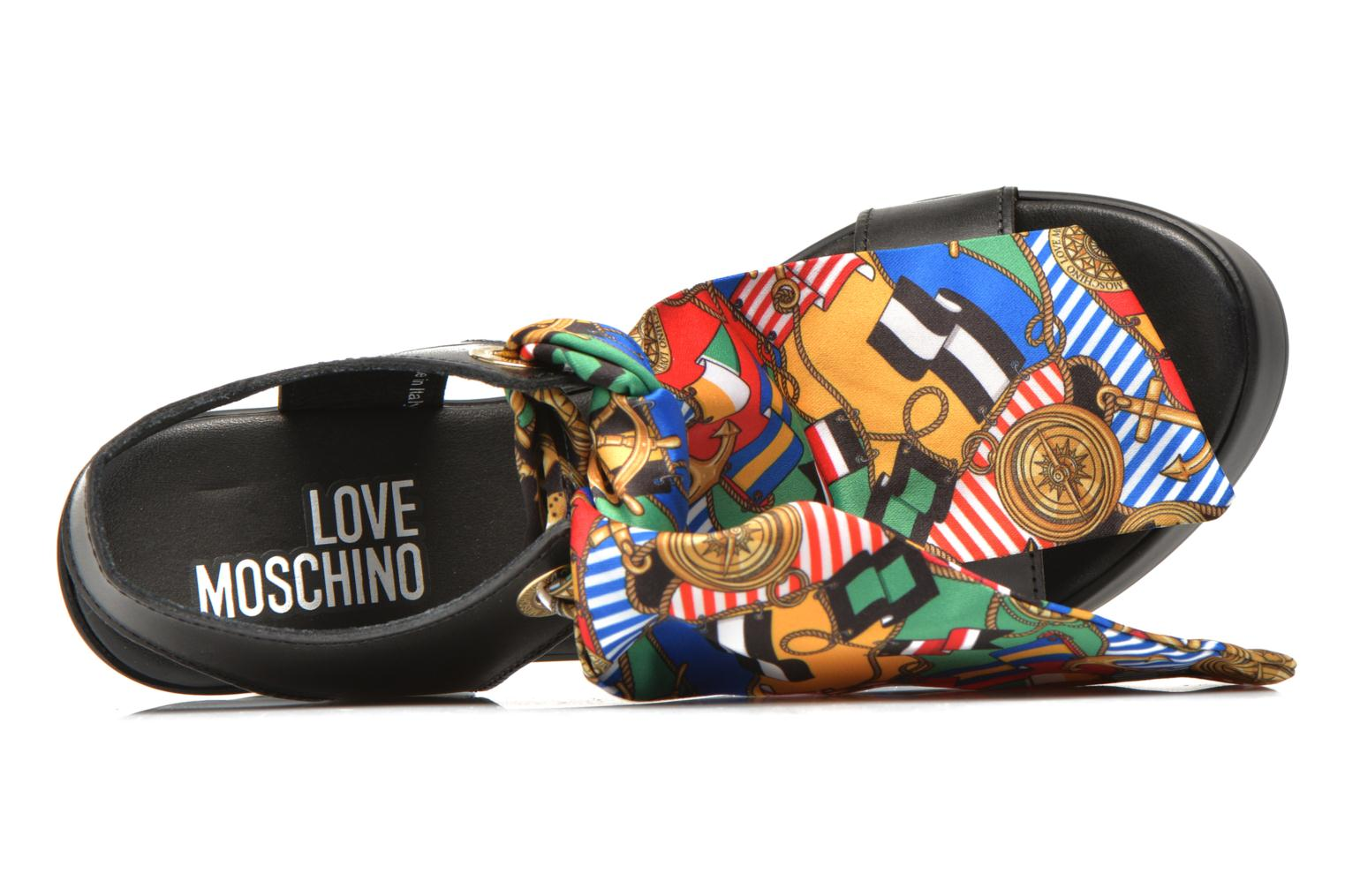 Sandals Love Moschino ILOVEFOULARD Black view from the left