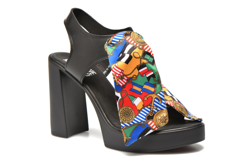 Sandals Love Moschino ILOVEFOULARD Black detailed view/ Pair view