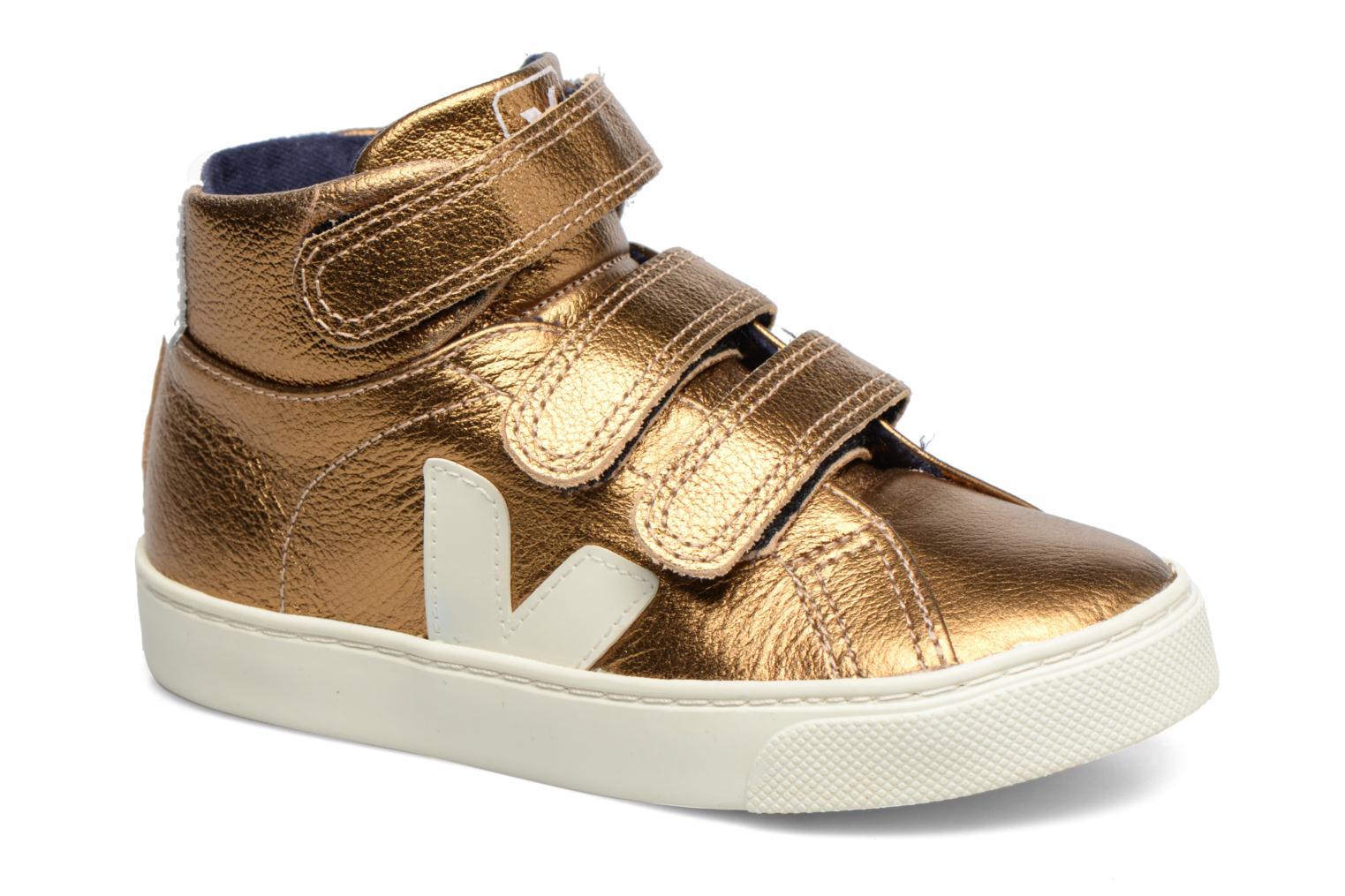 Trainers Veja Esplar Mid Small Velcro Bronze and Gold detailed view/ Pair view