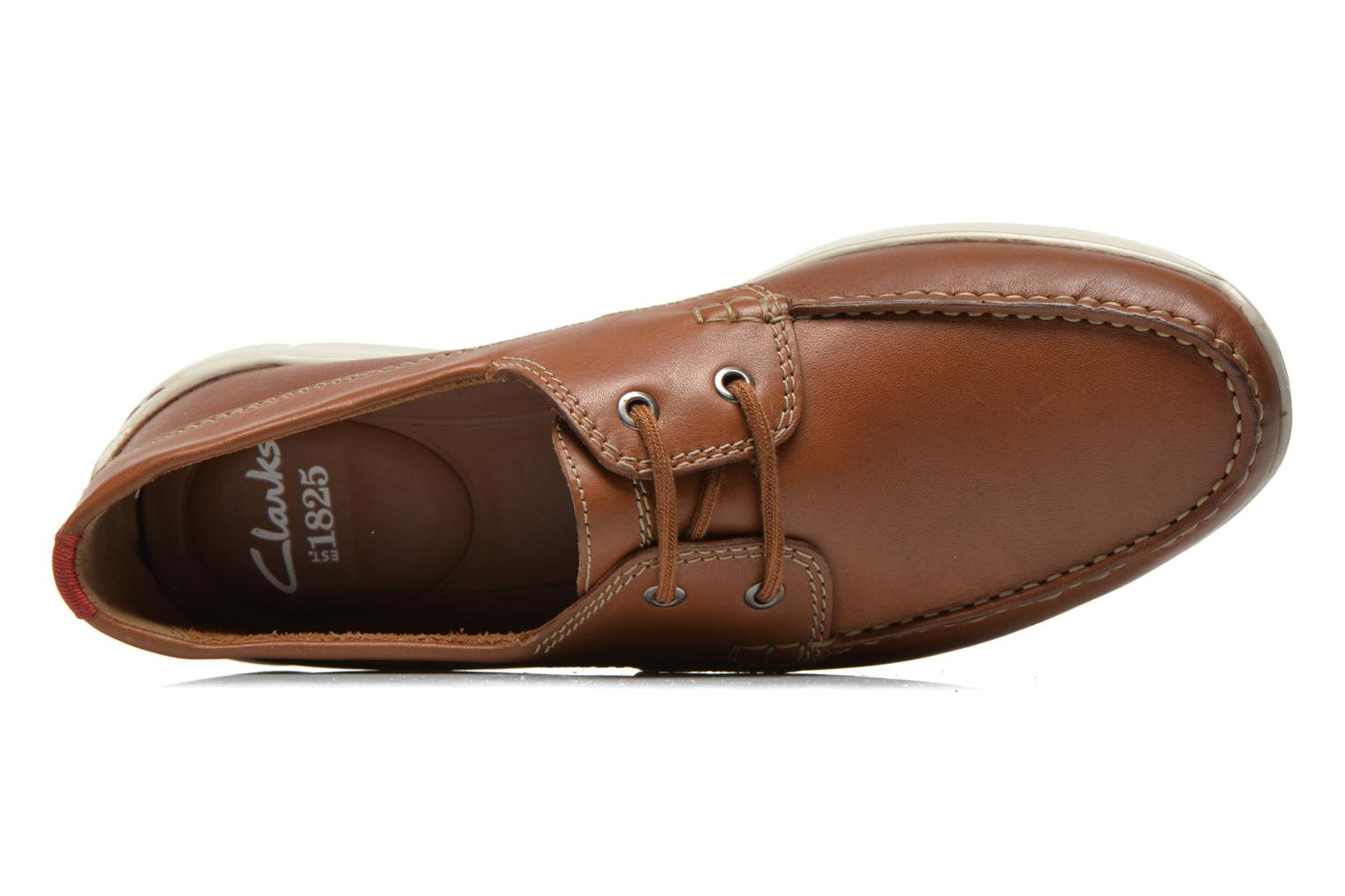 Veterschoenen Clarks Karlock Step Bruin links