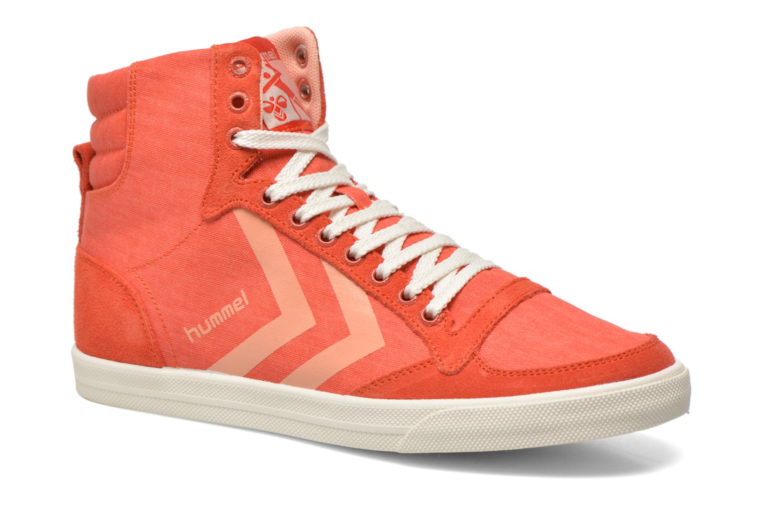 Baskets Hummel Ten Star Smooth Hi Rouge vue détail/paire
