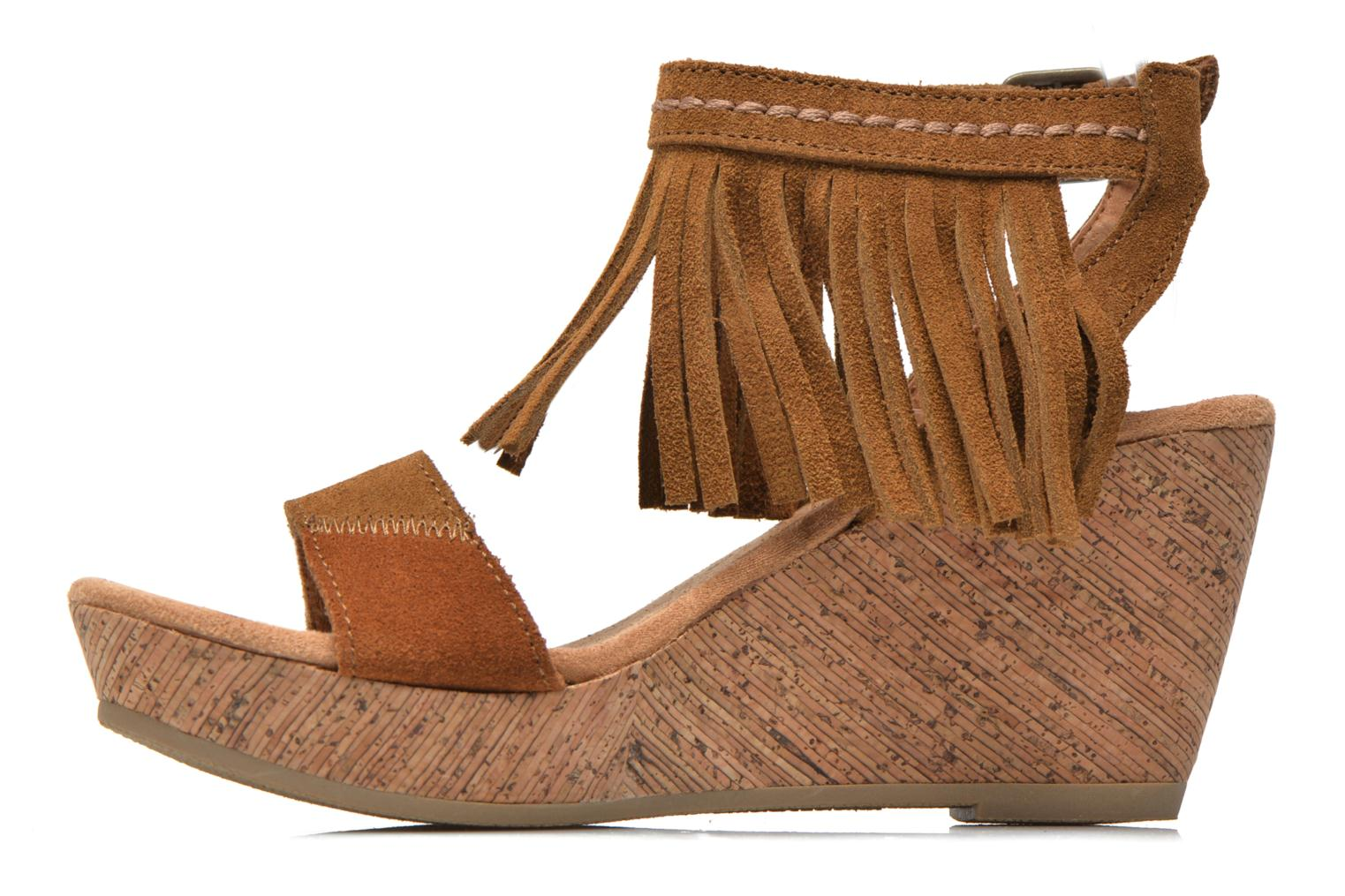 Sandalias Minnetonka Poppy Marrón vista de frente