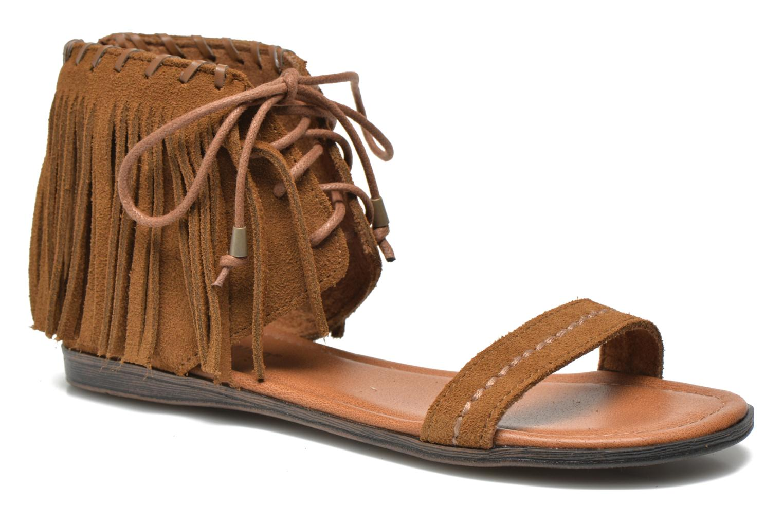 Sandals Minnetonka Havana Brown detailed view/ Pair view