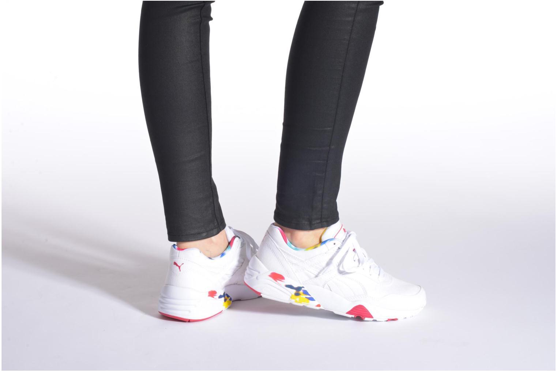 Sneaker Puma WNS R698 Blur Trinomic schwarz ansicht von unten / tasche getragen