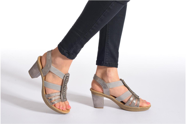 Sandales et nu-pieds Rieker Party 66584 Gris vue bas / vue portée sac