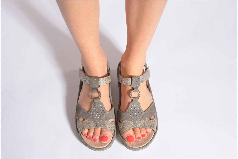 Sandales et nu-pieds Remonte Miny D7668 Gris vue bas / vue portée sac