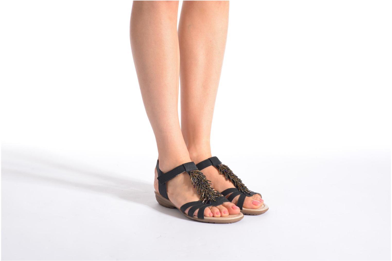 Sandalen Remonte Hype R3645 schwarz ansicht von unten / tasche getragen