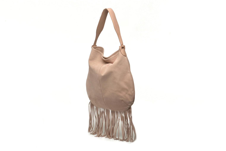 Handtaschen Pieces Tabatha suede Obo bag rosa schuhe getragen