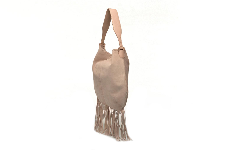 Handtaschen Pieces Tabatha suede Obo bag rosa ansicht von rechts