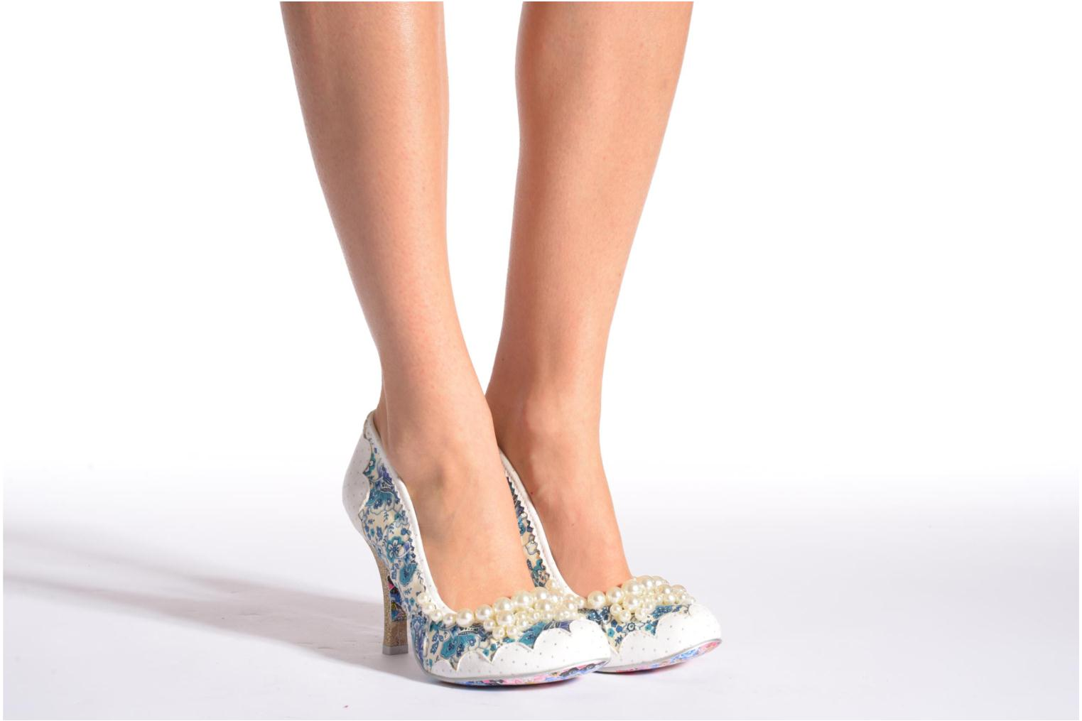 High heels Irregular choice Pearly Girly White view from underneath / model view