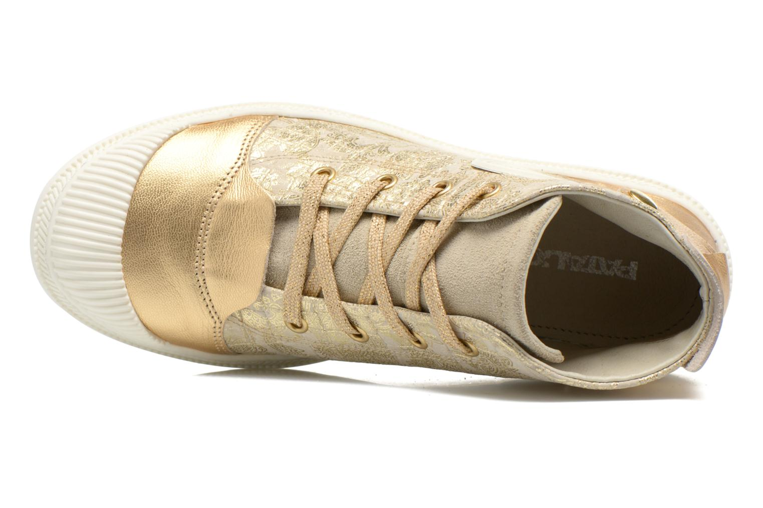 Trainers Pataugas Aix/CA Bronze and Gold view from the left