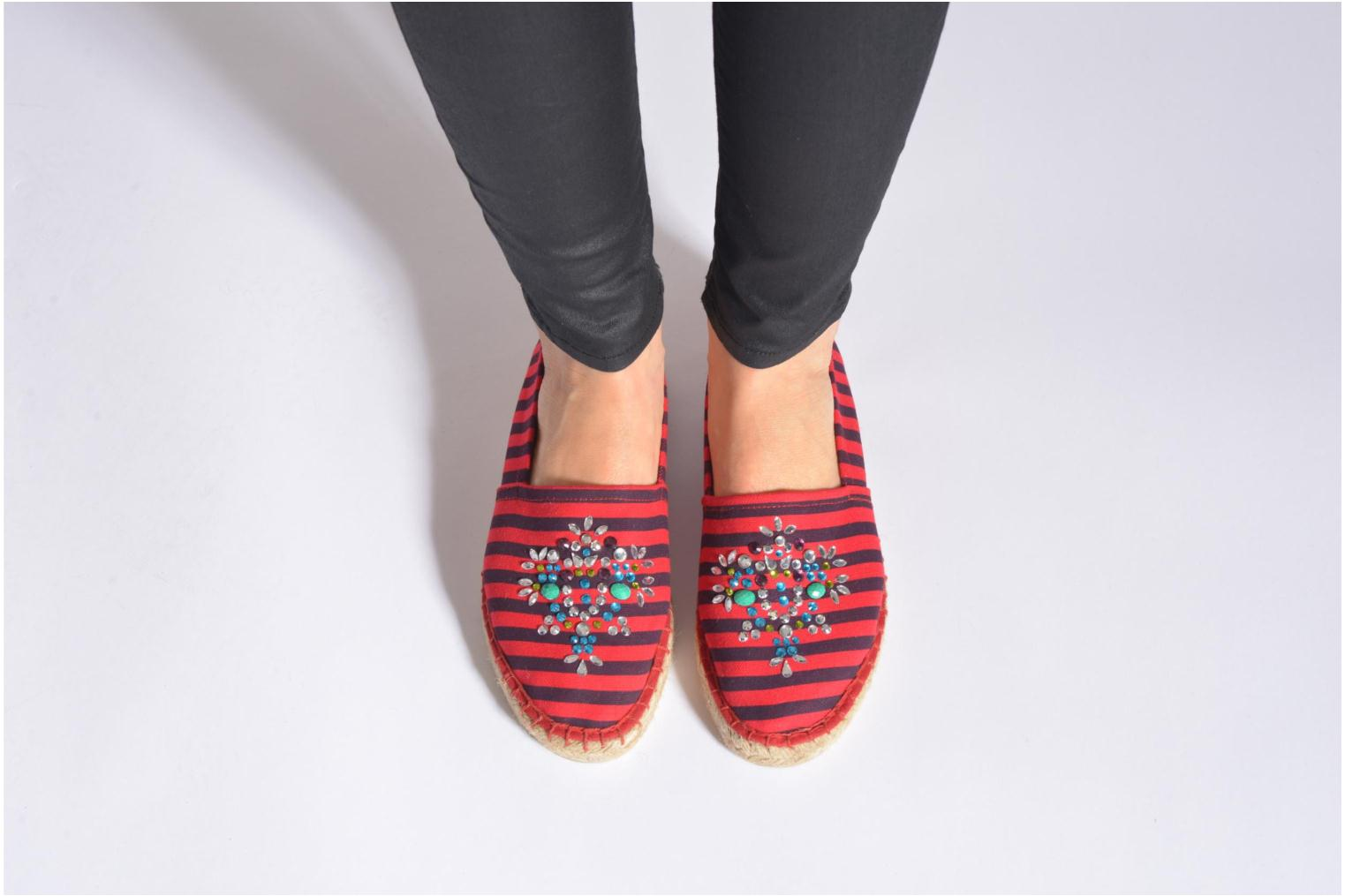 Espadrilles Colors of California Poshpadrille rayure Red view from underneath / model view