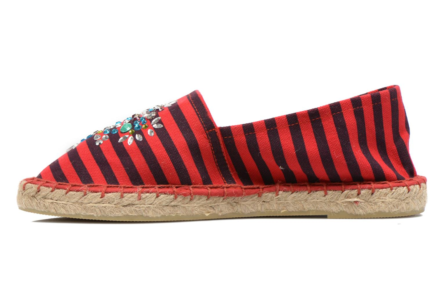Espadrilles Colors of California Poshpadrille rayure Rouge vue face