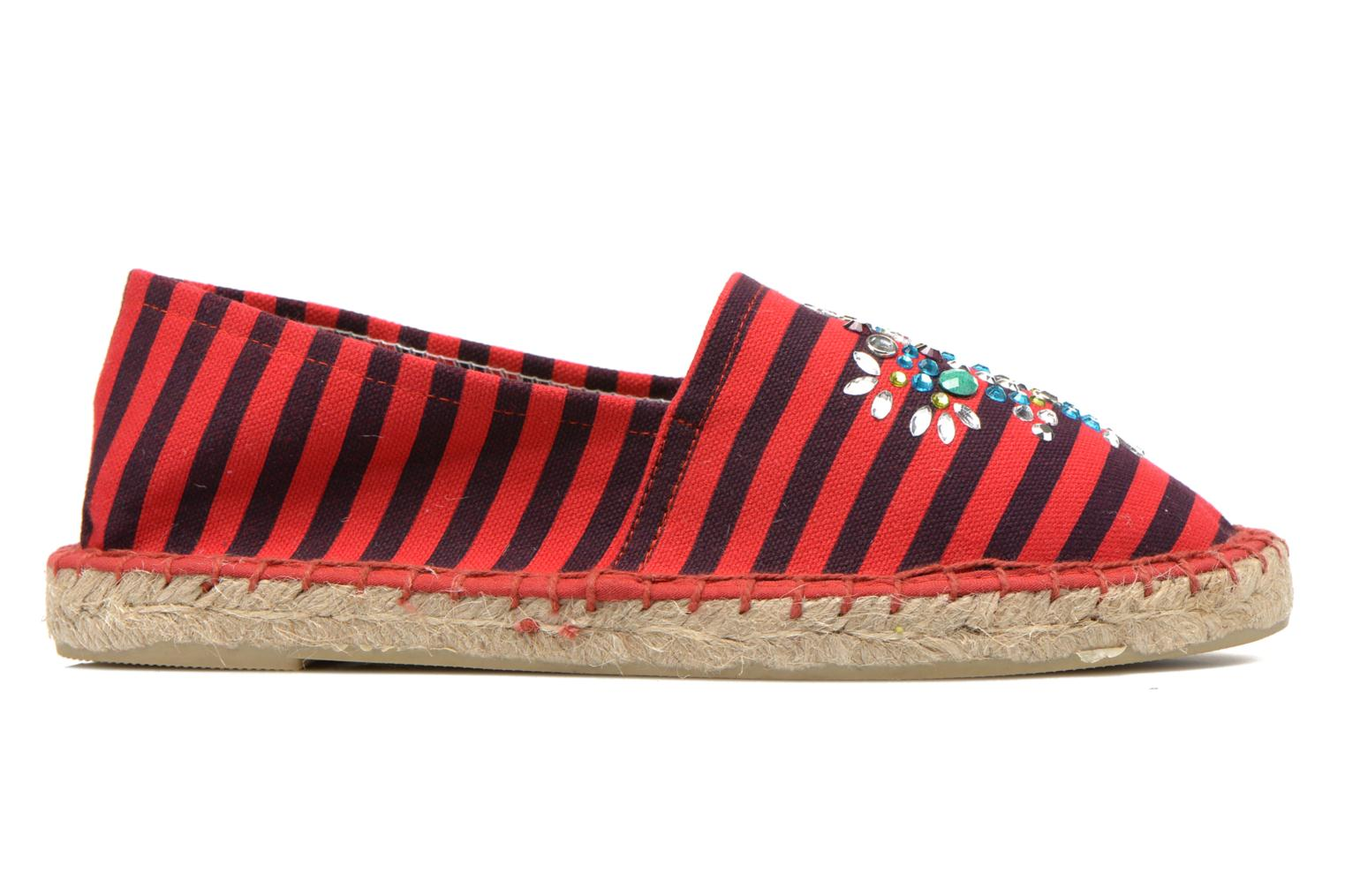 Espadrilles Colors of California Poshpadrille rayure Rouge vue derrière