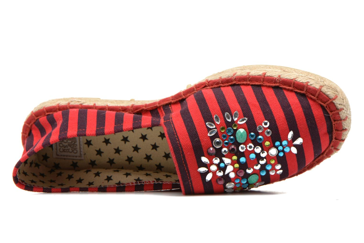 Espadrilles Colors of California Poshpadrille rayure Rouge vue gauche