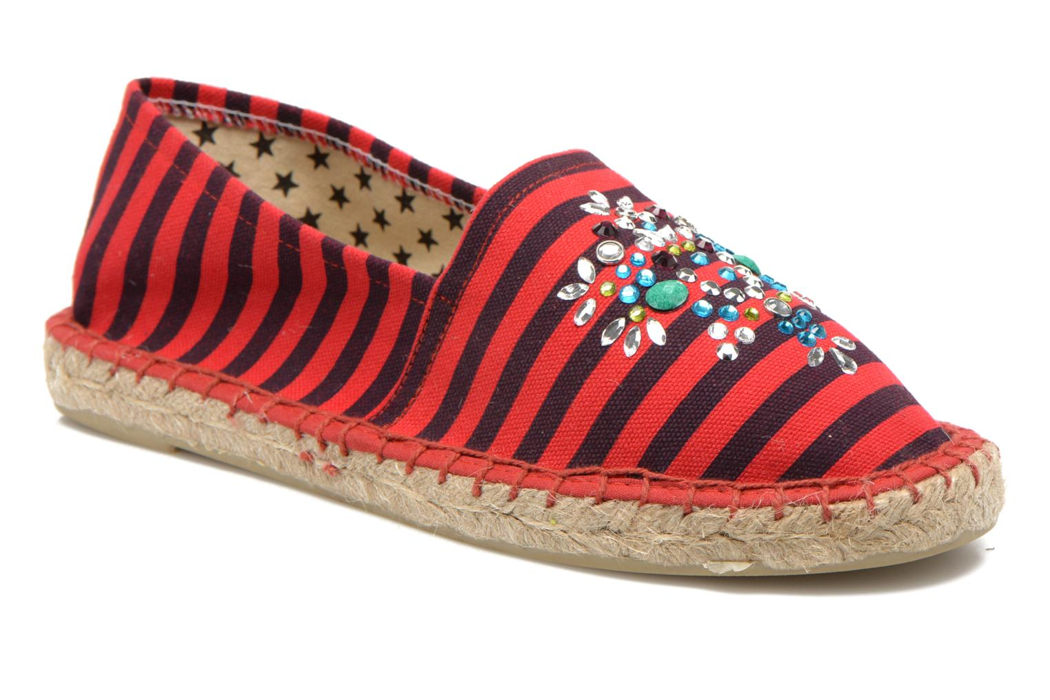 Espadrilles Colors of California Poshpadrille rayure Red detailed view/ Pair view