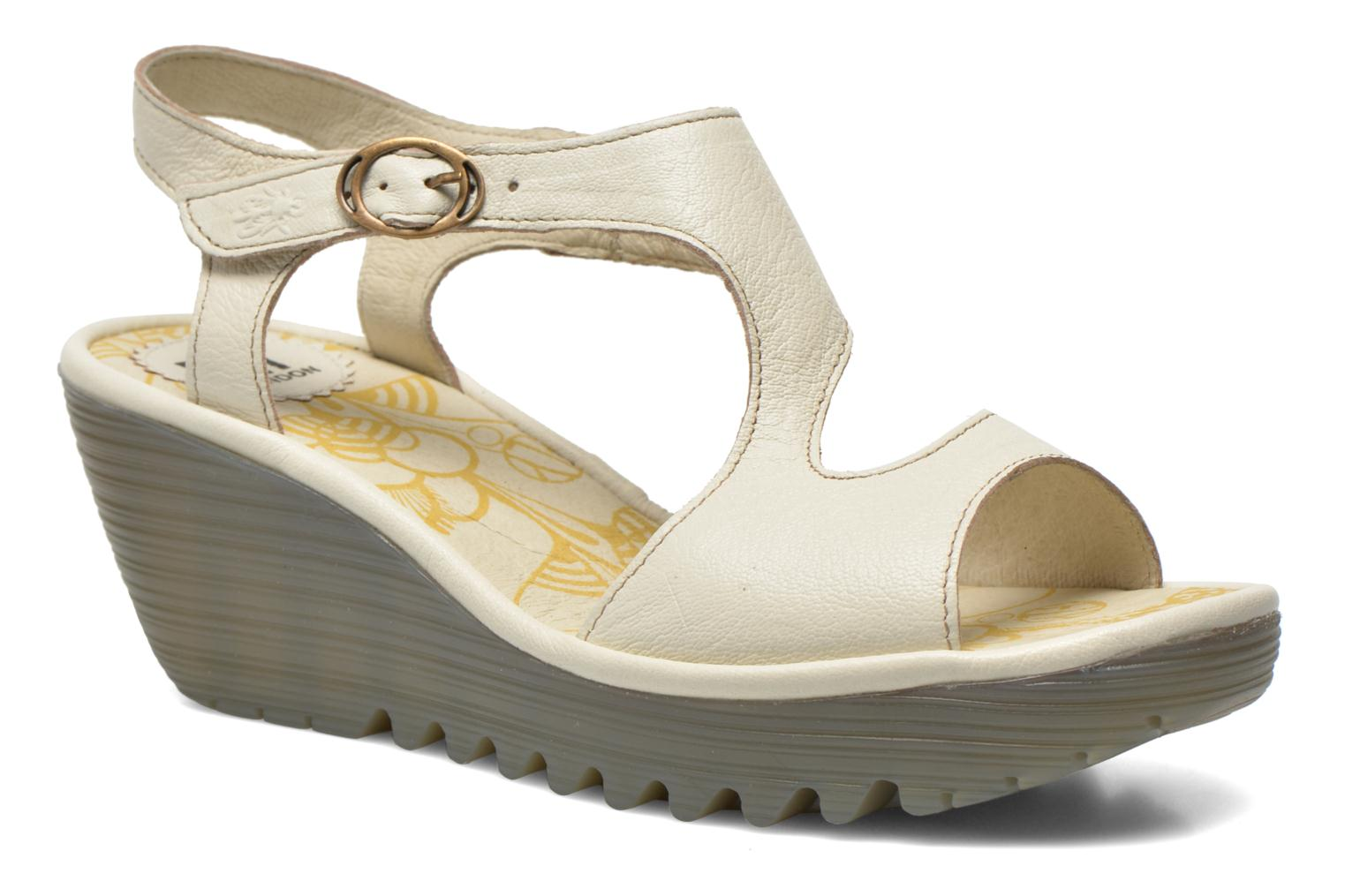 Sandals Fly London Yanca White detailed view/ Pair view
