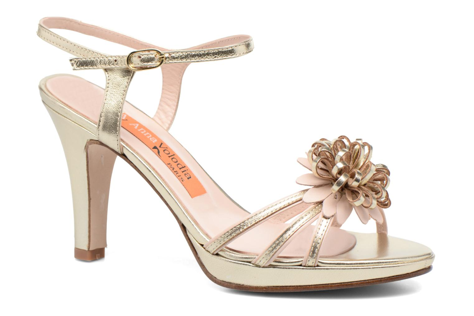 Sandals Anna Volodia Flora 3 Bronze and Gold detailed view/ Pair view