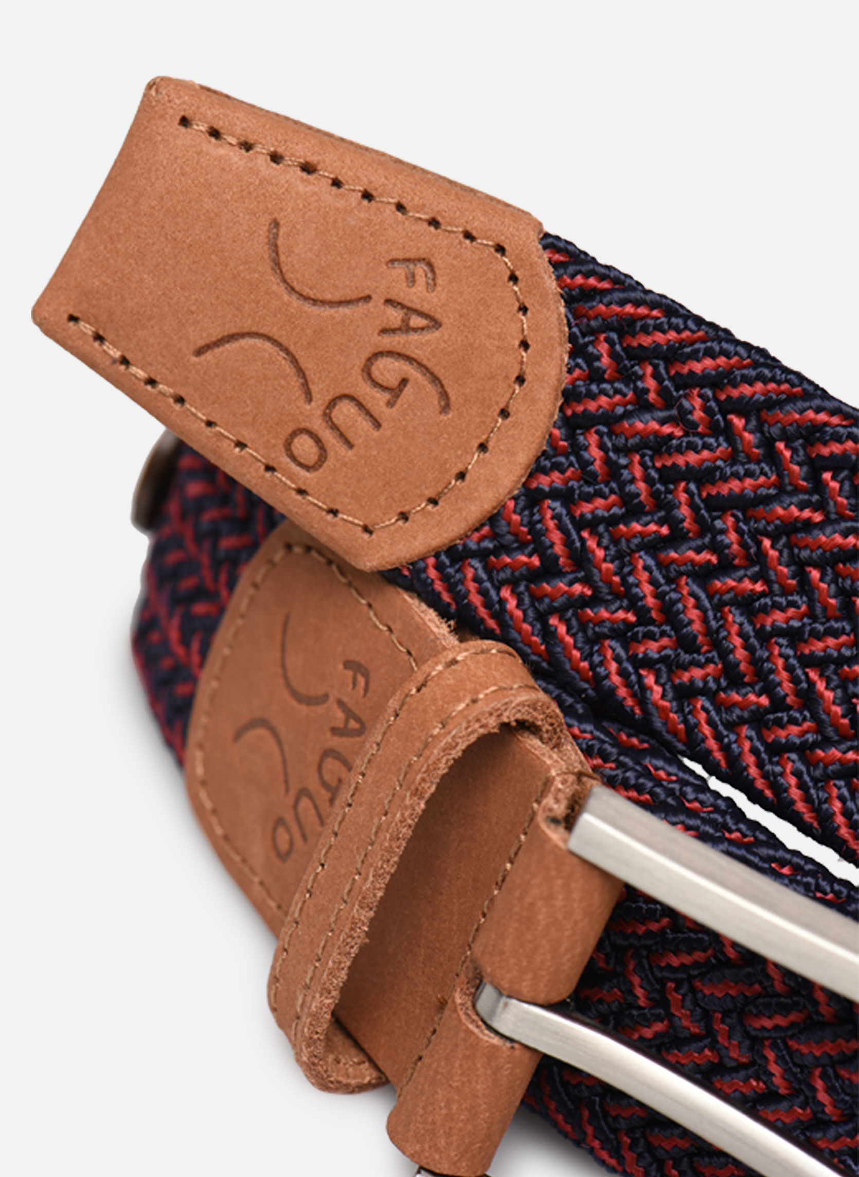 Belts Faguo Ceinture tressée bicolore Red model view