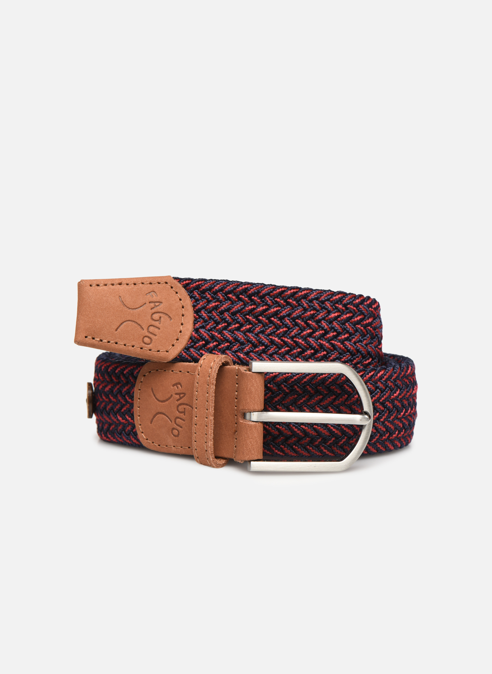 Belts Faguo Ceinture tressée bicolore Red detailed view/ Pair view