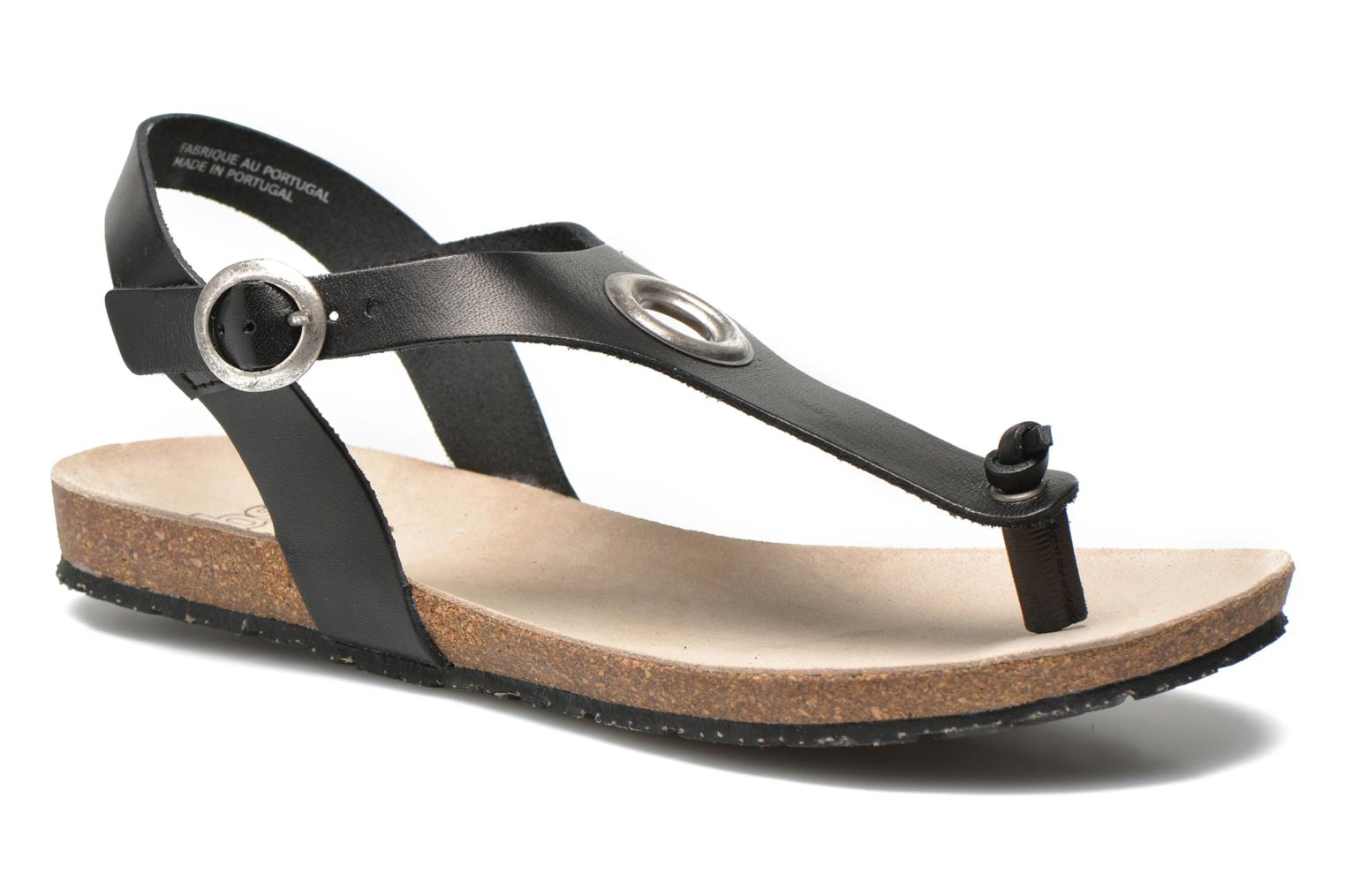 Sandals TBS Inayah Black detailed view/ Pair view