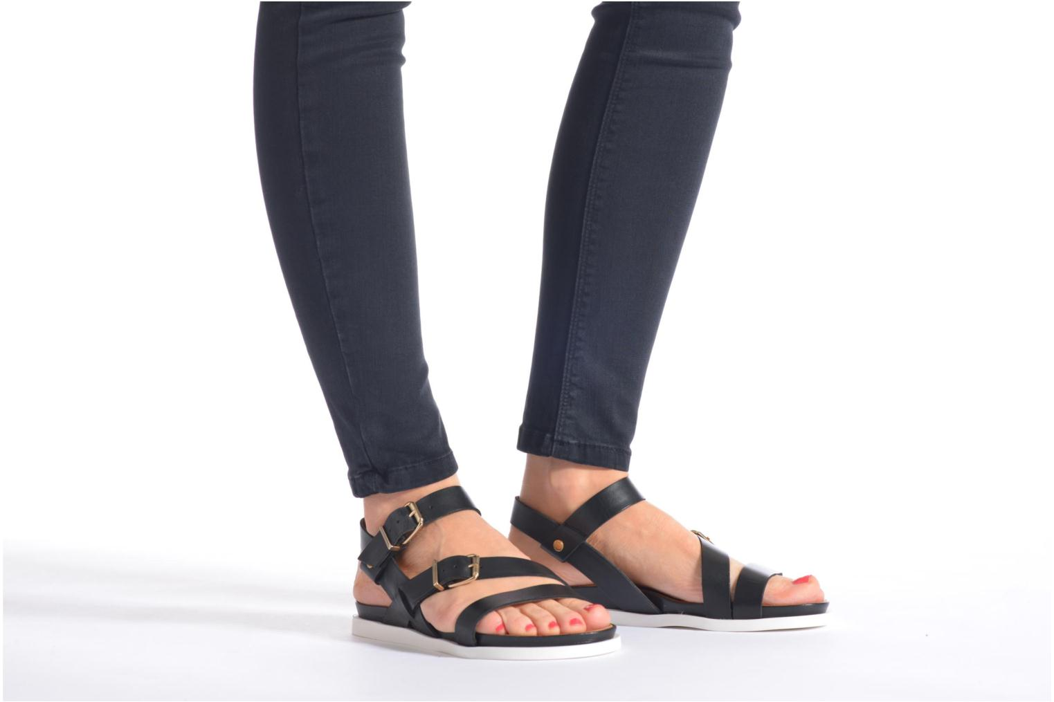 Sandals Mellow Yellow Vindia Black view from underneath / model view
