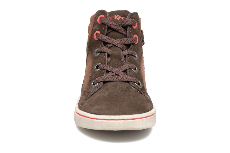 Baskets Kickers Lynx Marron vue portées chaussures