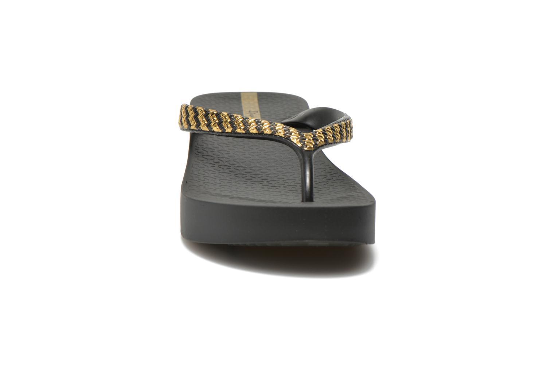 Tongs Ipanema Mesh Plat Noir vue portées chaussures