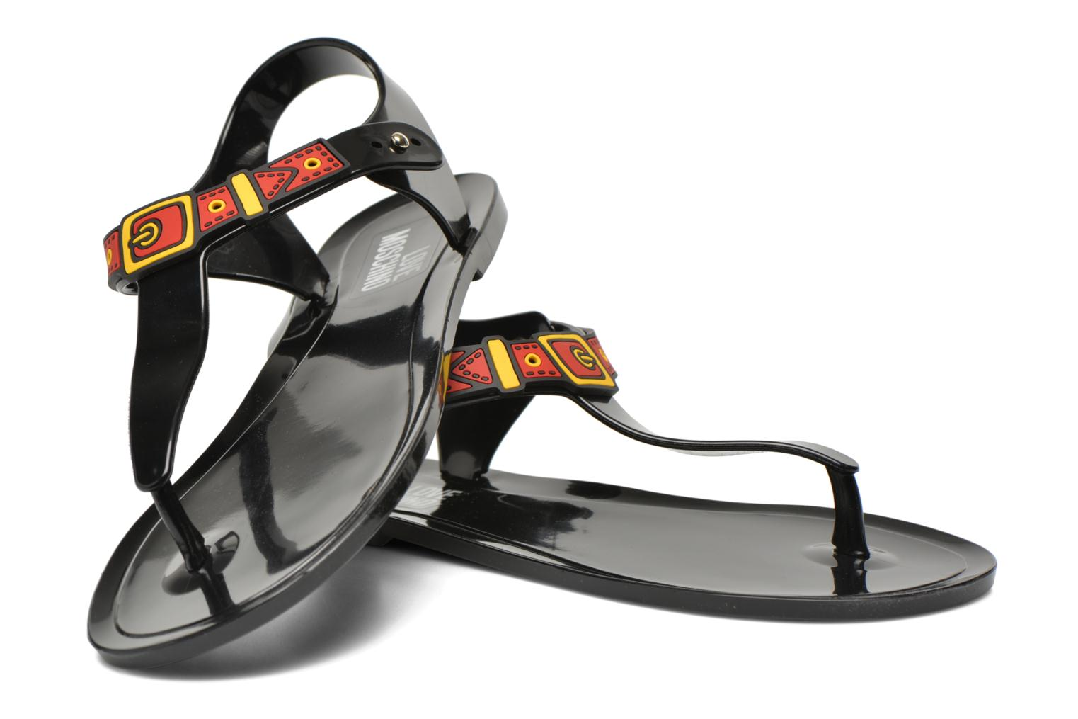 Sandals Love Moschino Bouclette Black 3/4 view