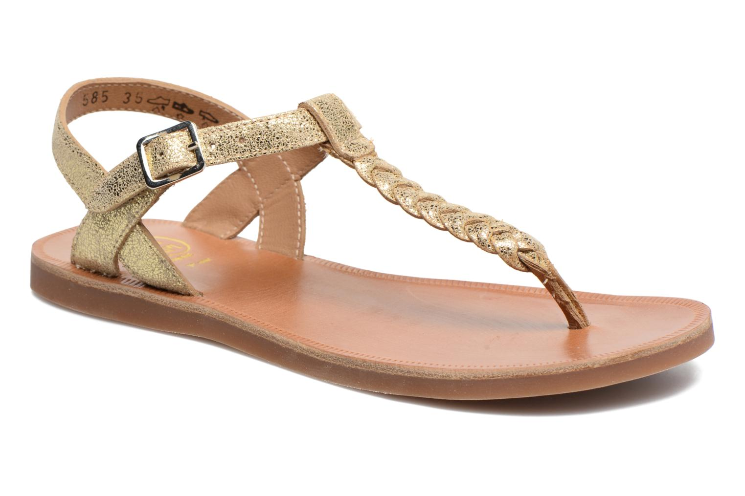 Sandals Pom d Api Plagette Antic Tong Bronze and Gold detailed view/ Pair view