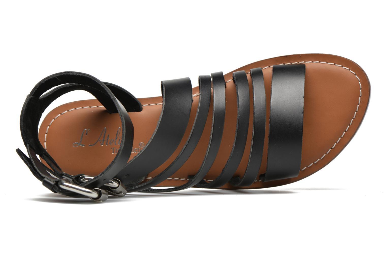 Sandales et nu-pieds L'Atelier Tropézien Popette Noir vue gauche
