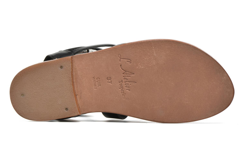 Sandales et nu-pieds L'Atelier Tropézien Popette Noir vue haut